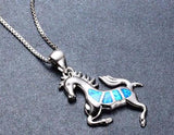 Sterling Silver Stunning Fire Blue Opal Wild Horse Pendant w/ Chain