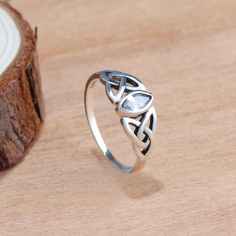 Sterling Silver Celtic Knot Marquise Cut CZ Ring Sz 6-8