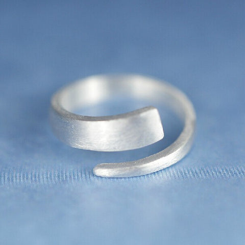 Sterling Silver Simple Matte Finish Open Face Adjustable Band Ring