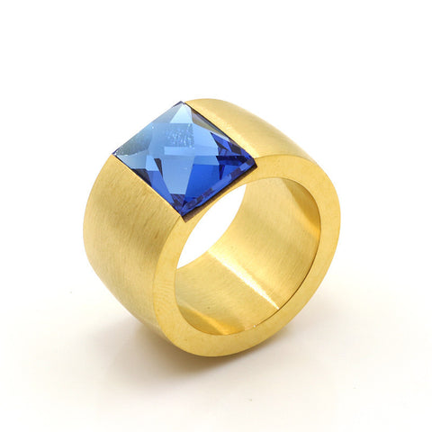 Stainless Steel Gold Finish Thick Rectangle Blue Topaz Band Ring Sz 7-10