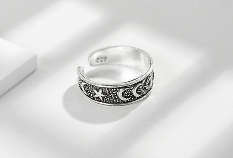 Sterling Silver Unique Moon & Stars Design Adjustable Band Ring