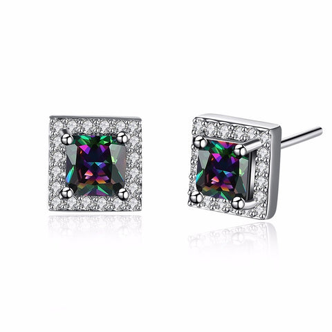 18K Gold Plated White Gold Filled Rainbow Topaz Stud Earrings