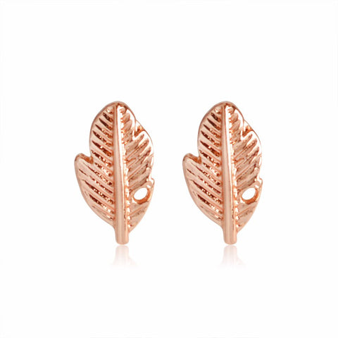 18K Gold Plated Rose Gold Finish Cute Leaf Design Stud Earrings