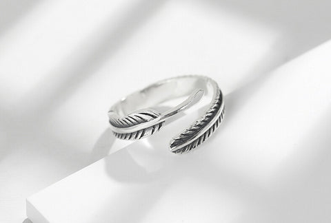 Sterling Silver New Design Feather Style Adjustable Band Ring