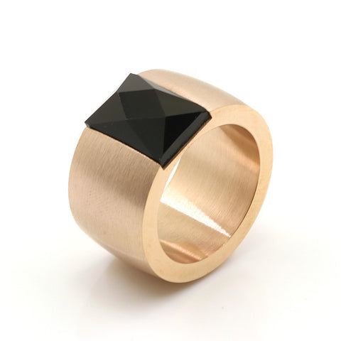 Stainless Steel Gold Finish Thick Rectangle Black Band Ring Sz 7-10