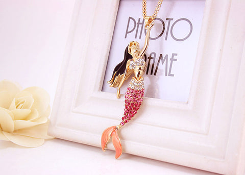 18K Gold Plated Rose Gold Finish Stunning Mermaid Pendant w/ Chain