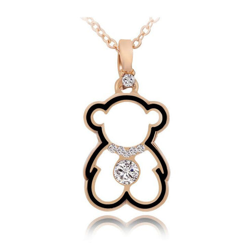 Sterling Silver Cute Gold Tone Teddy Bear Design Cut Out CZ Pendant w/ Chain
