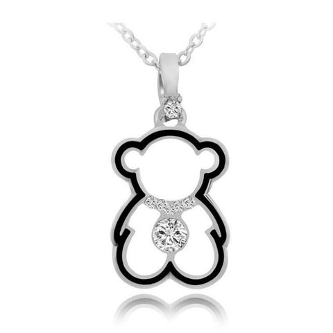 Sterling Silver Cute Teddy Bear Design Cut Out CZ Pendant w/ Chain