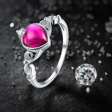 Sterling Silver Gorgeous Genuine 1.78 CT Ruby Claddagh Ring Sz 6-9