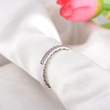 LZESHINE New Cute 925 Sterling Silver Radiant Hearts Ring With Enamel Clear CZ Engagement Rings Jewellery PSRI0087-B