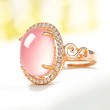Sterling Silver Gorgeous Synthetic Oval Pink Opal Adjustable Ring