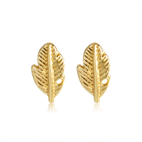 18K Gold Plated Cute Leaf Design Stud Earrings