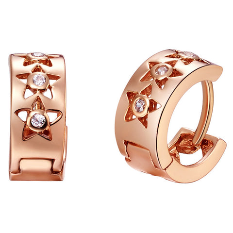 18K Gold Plated Rose Gold Finish Star Style Earrings