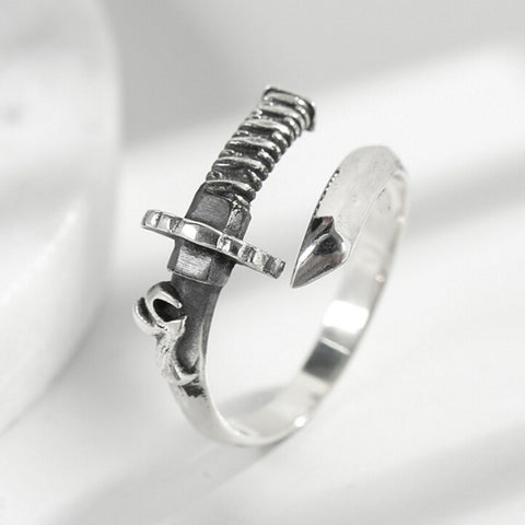 Sterling Silver Unique Warrior Sword Design Adjustable Ring