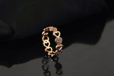 18K Gold Plated Rose Gold Finish Continuous Heart CZ Band Ring Sz 6-7