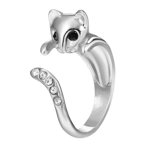 18K Gold Plated White Gold Finish Cat CZ Adjustable Ring