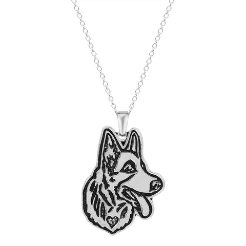 18K Gold Plated White Gold Finish German Shepard Pendant w/ Chain
