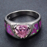 Sterling Silver Gorgeous Triangle Pink Topaz / Pink Opal Ring Sz 6-10