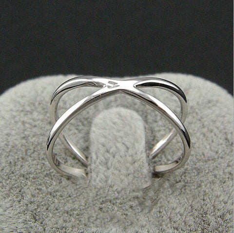 Sterling Silver Unique Hallow Cross Design Adjustable Ring