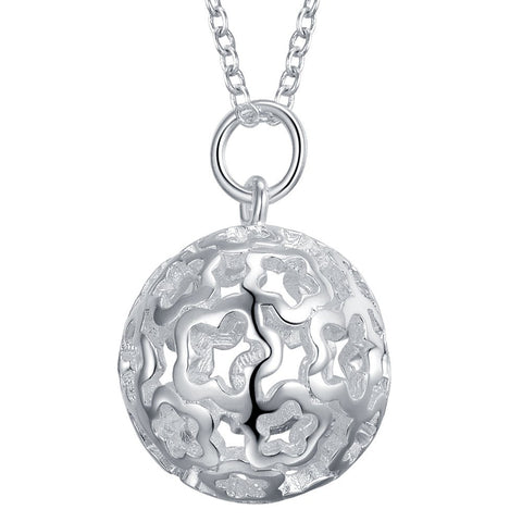 18K Gold Plated White Gold Finish Flower Ball Pendant w/ Chain
