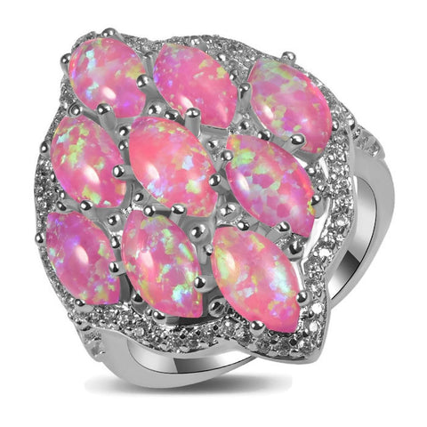 Sterling Silver Stunning Fire Pink Opal Cocktail Ring Sz 5-11