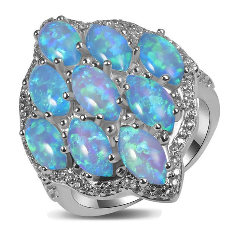 Sterling Silver Stunning Fire Blue Opal  Cocktail Ring Sz 5-11
