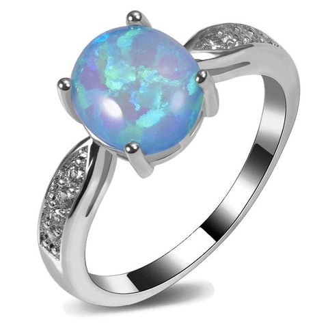 Sterling Silver Gorgeous Round Blue Opal Ring Sz 5-11