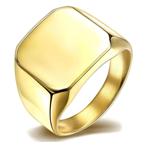 Stainless Steel Classic Square Signet Ring Sz 7-10