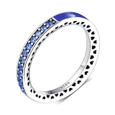 Sterling Silver Gorgeous Blue Sapphire Half Eternity CZ Ring Band Sz 7-8