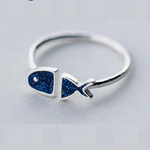 Sterling Silver Unique Blue Fish Design Adjustable Ring