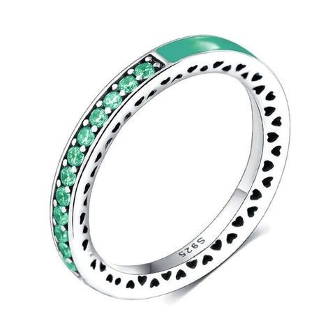 Sterling Silver Gorgeous Green Emerald Half Eternity CZ Ring Band Sz 7-8