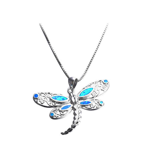 Sterling Silver Stunning Fire Blue Opal Dragonfly Pendant w/ Chain