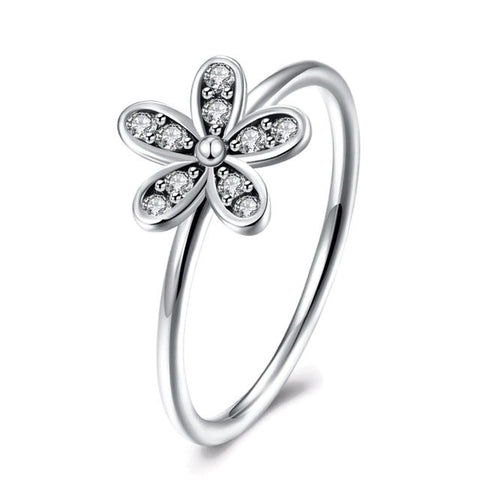 Sterling Silver Cute Flower Shaped CZ Ring Sz 6-8