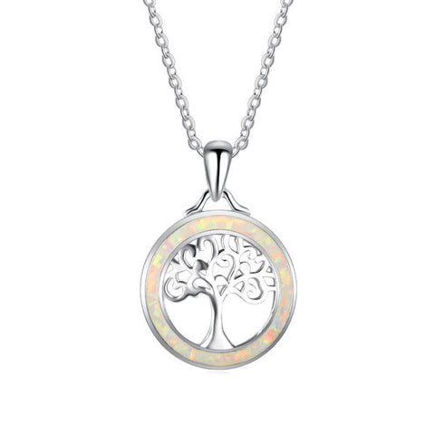 Sterling Silver Beautiful Tree of Life White Opal Pendant w/ Chain