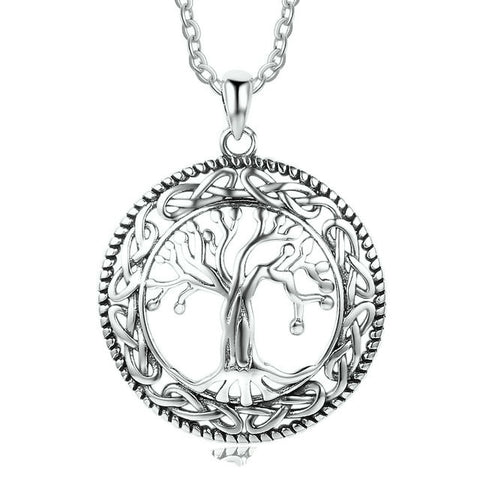 Sterling Silver Solid Tree of Life Pendant w/ Chain