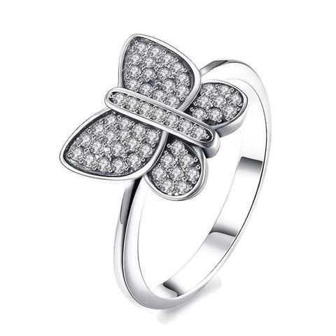 Sterling Silver Cute Butterfly CZ Ring Sz 6-8