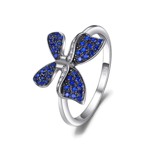 Sterling Silver Stunning Blue Sapphire Butterfly Ring Sz 6-8