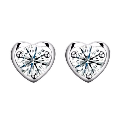 Sterling Silver Stunning 8mm Heart Stud Earrings
