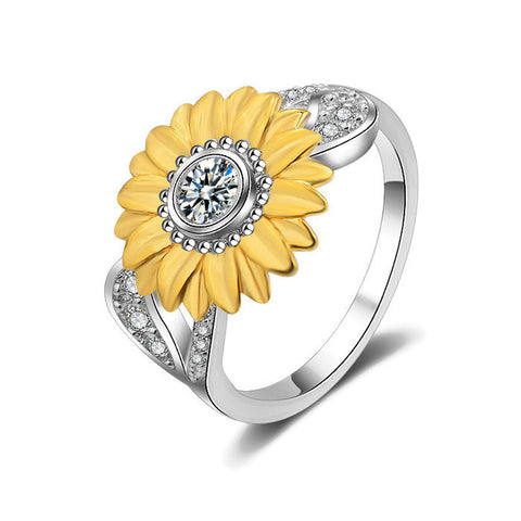 18K Gold Plated White Gold Finish Cute Yellow Rose / Flower Ring Sz 6-9