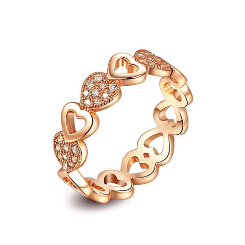 18K Gold Plated Rose Gold Finish Heart Style Eternity CZ Ring Sz 6-9