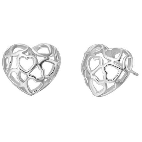 18k Gold Plated White Gold Finish Cut Out Hear Stud Earrings