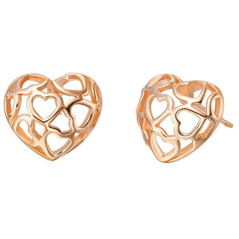 18k Gold Plated Rose Gold Finish Cut Out Hear Stud Earrings