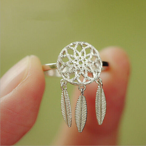 Sterling Silver unique Dangling Feather Dream Catcher Adjustable Ring