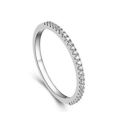 18k Gold Plated White Gold Finish Half CZ Eternity Band Ring Sz 4.5-10
