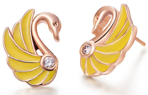 Sterling Silver Rose Gold & Yellow Finish Unique Swan CZ Stud Earrings