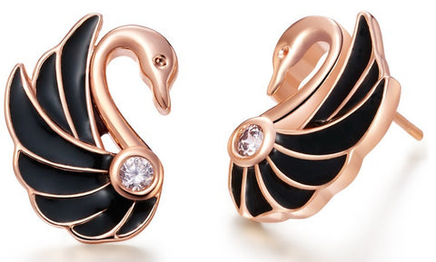 Sterling Silver Rose Gold & Black Finish Unique Swan CZ Stud Earrings