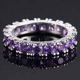 18k Gold Plated Thick Amethyst CZ Eternity Band Ring Sz 6-9