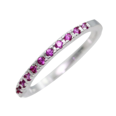 Sterling Silver Ruby Round Half Eternity Band Ring Sz 4.5-10