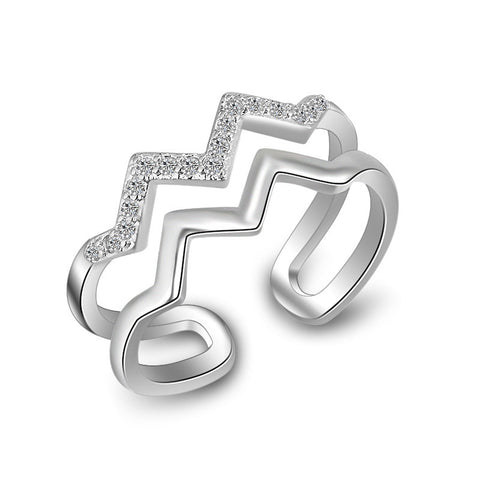 Sterling Silver Unique Zig Zag Design CZ Adjustable Ring