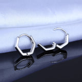 18K Gold Plated White Gold Finish Geometric Style Hoop Earrings